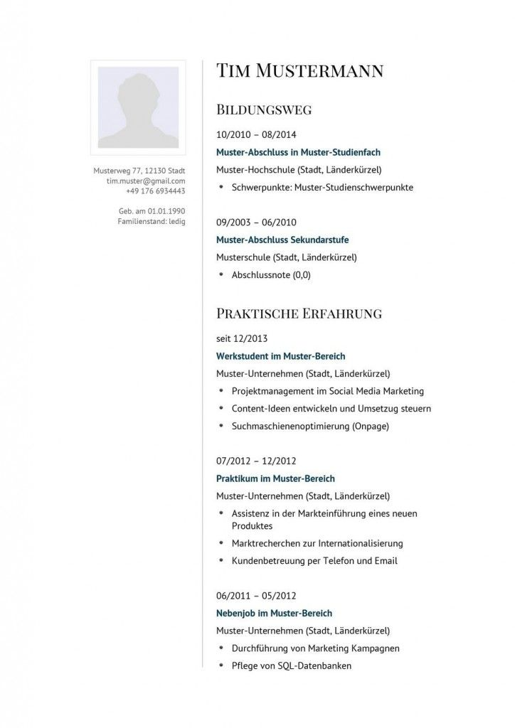 31 besten Lebenslauf Vorlagen & Muster Bilder auf Pinterest ...