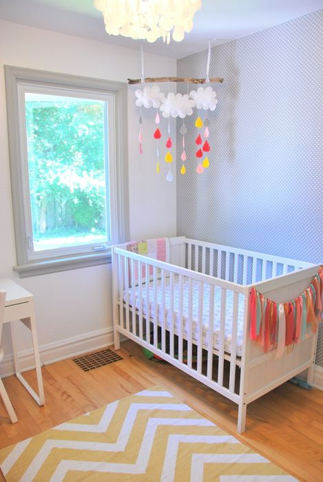 nursery makeover pink gold yellow and mint diy raindrop mobile ikea crib ribbon garland. Black Bedroom Furniture Sets. Home Design Ideas