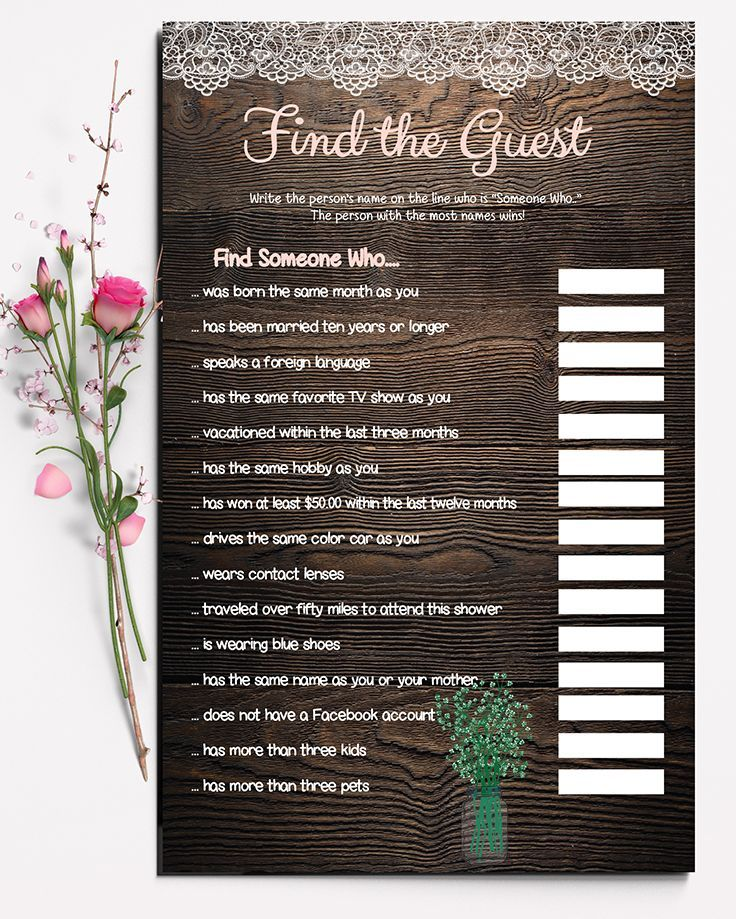 free printable bridal shower games and activities%0A Find the Guest is the perfect ice breaker  This bridal shower game features  beautiful lace
