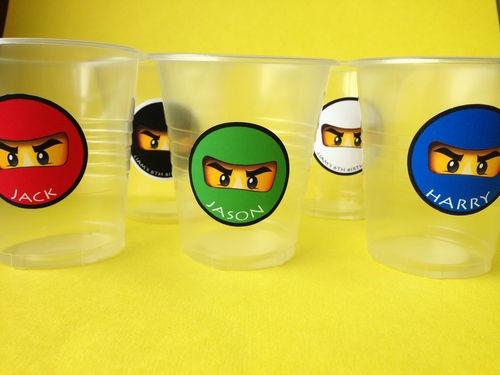 12 Lego Ninjago personalised cup labels