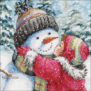 A KISS FOR SNOWMAN ~ counted cross stitch kit