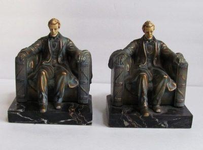 Abraham Lincoln Bronzed Metal U0026 Marble Vintage Book Ends
