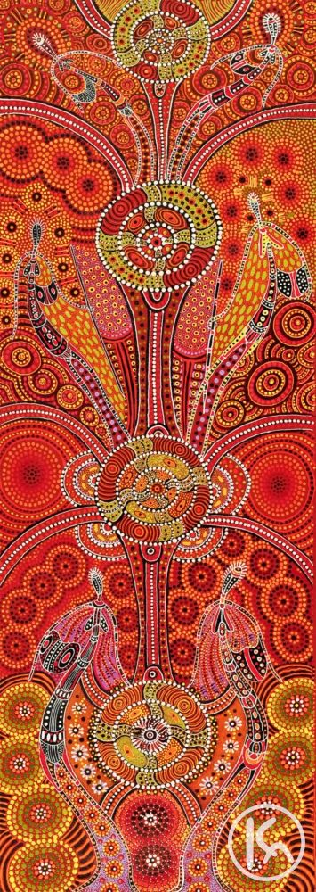 Dreamtime Ladies, by Kathleen Wallace - The painting narrates the story of six Aboriginal ladies and their travels through the Dreamtime, dancing along the way. They made many stops throughout their journey and at each place they danced under the starlight, until finally arriving at their destination Eagle Big, where their statues are found still to this day.