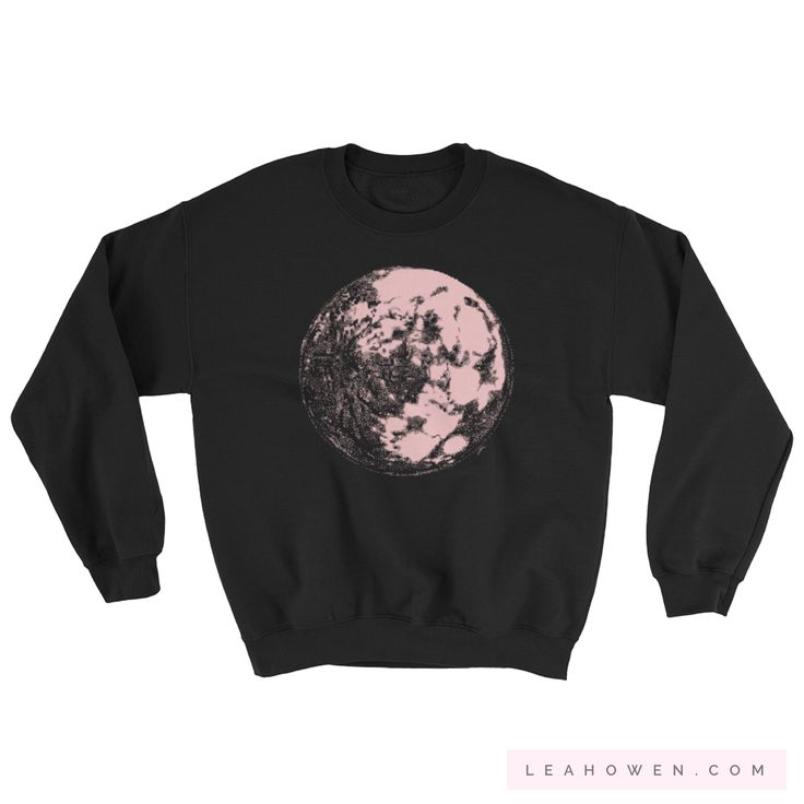 Pink Moon unisex crewneck sweater at LeahOwen.com! Comfy sweater for those breezy summer nights. Wear a moon sweater & stare up at the stars & space on a camping night. Show your love of science while sporting it as athleisure. 🌕
