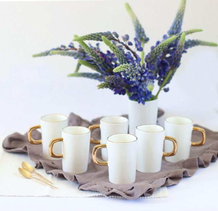 Set of 6 espresso cups, ceramic cups, white cup, white and Gold pottery cup, handmade mugs, ceramic mug, Gold handle cup, Gold rim cups by MISSDISHceramics on Etsy
