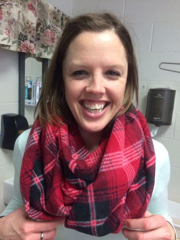 Sara models the fleece infinity scarf