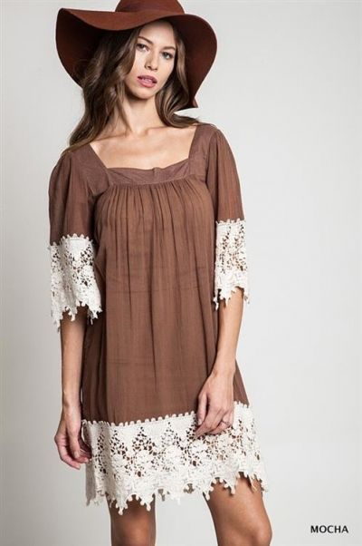 *** Crochet Resort Dress *** Solid square neck relaxed fit dress with long crochet trim on sleeves and hem.