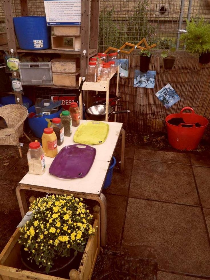 1000 images about outdoor mud kitchen on pinterest for Daycare kitchen ideas