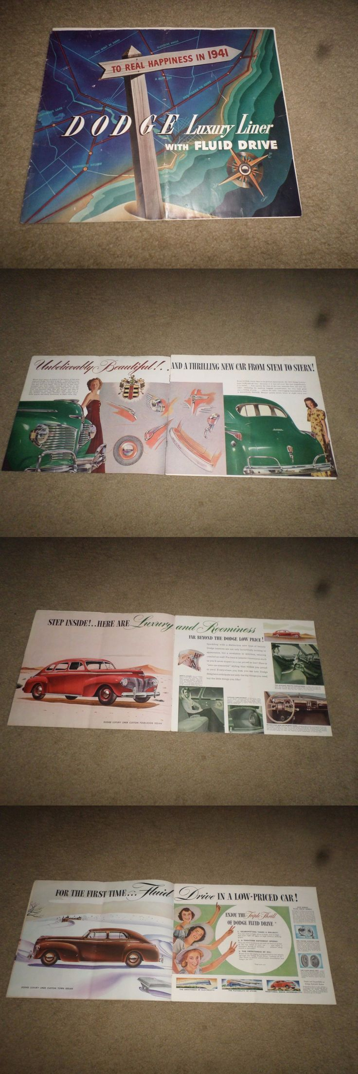 Luxury cars e 1941 dodge luxury liner car dealer sales brochure buy