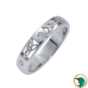 Trinity Cut Out Diamond Celtic ring  18ct white gold Celtic band featuring cut out trinity knotwork patterns, this ring is finished off with x3 round diamonds (TDW .078ct).