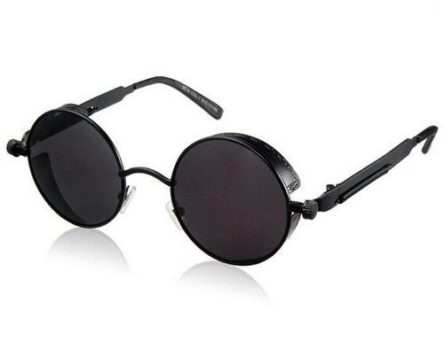 lentes gafas de sol redondos steampunk negros metálicos y uv