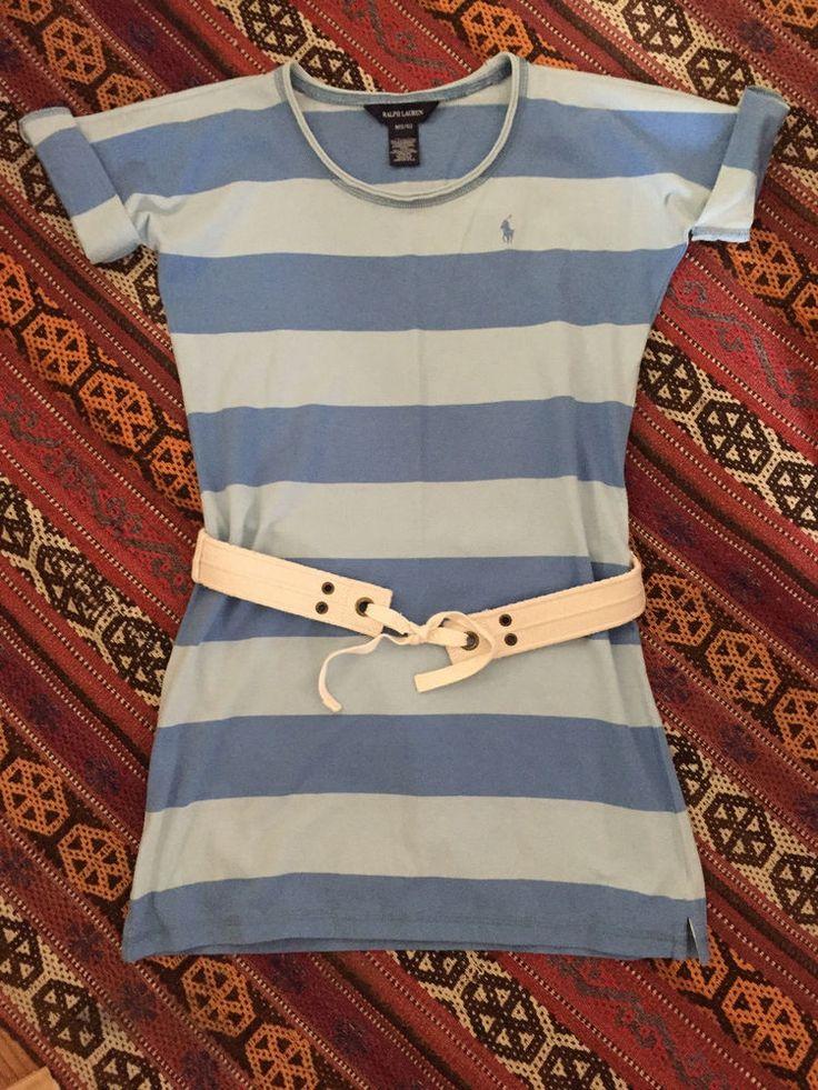 Ralph Lauren RL Girls T-Shirt Dress M 8/10 Blue Srtipe  | eBay