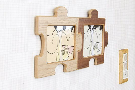 Puzzle-shaped wooden picture frame.