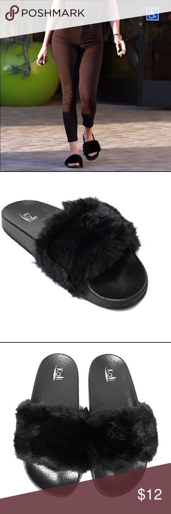 Kali Fur Slides BRAND NWT! I carry all sizes in the available colors above! Comes in HOT PINK, GREY, WINE, BLACK, WHITE. WILL SHIP SAME OR NEXT DAY OF PURCHASE (depending on the time). Super comfortable slip on slides that you can wear with basically any outfit! Comes from nonsmoking pet free home :) Kali Shoes Slippers