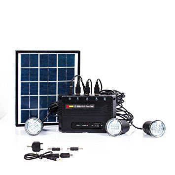 B-right 4W Solar Panel Lighting Kit, Solar Home Lighting System, USB Charger with 3 LED Light Bulb for Home, Countryard, Outdoor Camping, Fishing, LED Emergency Security Lighting