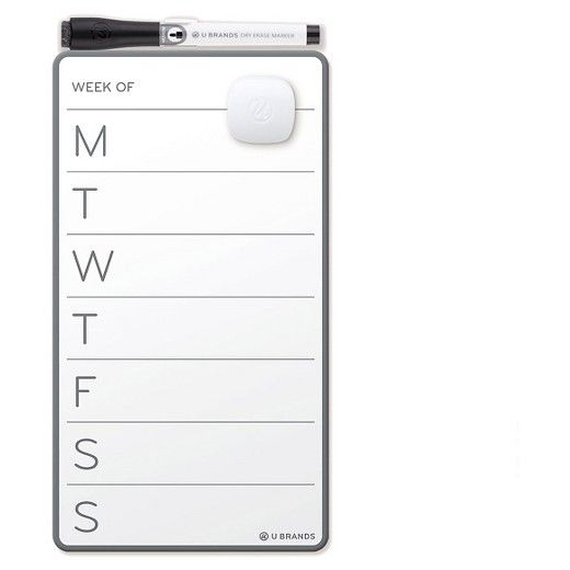 U Brands silver aluminum frame magnetic dry erase weekly calendar board is a perfect and functional solution for the frequent usage areas of your home, office, school classroom, any commercial space. This feature-packed magnetic calendar whiteboard is a perfect solution to keep your life organized well beyond the board's dry erase calendar function.