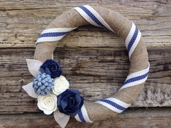 Burlap Wrapped Wreath Navy Blue and Cream Wreath by TheRuffledPage