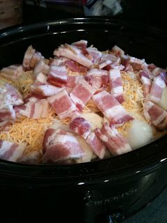 Crock Pot Scalloped Taters ~10 pounds potatoes, peeled and sliced 1 large onion, diced 16 slices thick cut bacon, uncooked and diced 4 cups shredded taco blend cheese 1 28 oz can cream of chicken soup ~Place half of the sliced potatoes in the bottom of crock. ~Top with half of onion, cheese and bacon. ~Repeat layers. ~Top with cream of chicken soup. ~Cook on low of 8 to 10 hours. Easy peezy!!!!