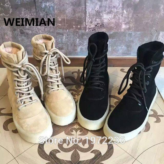WEIMIAN Любителей Стиля Унисекс Нубук Кожи Челси Сапоги Зашнуровать Kanye West Ботинки Платформы Botas Повседневная Мужская женская обувь купить на AliExpress