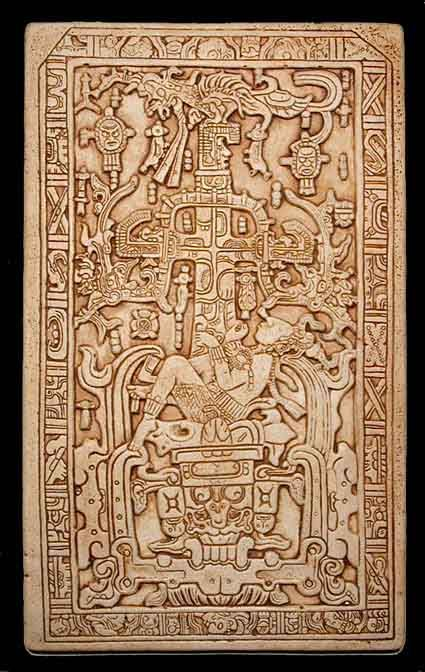 The large carved stone sarcophagus lid is a famous piece of Classic Maya art.