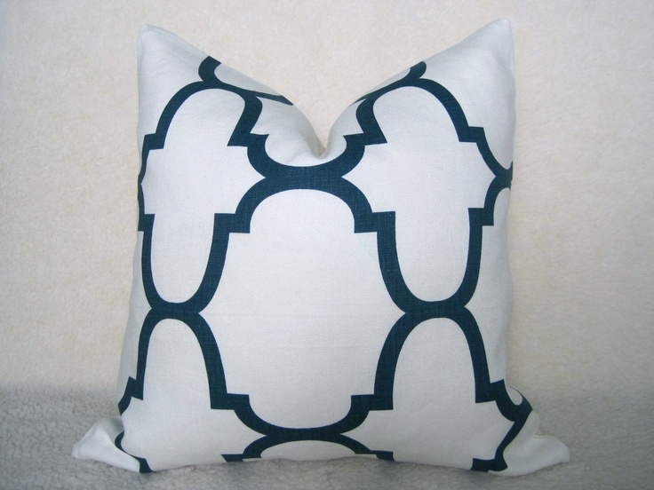Kravet   20 Inch Riad Pillow Cover   Navy And Off White  Indigo   Designer  Pillow   Decorative Pillow   Throw Pillow   Linen Pillow