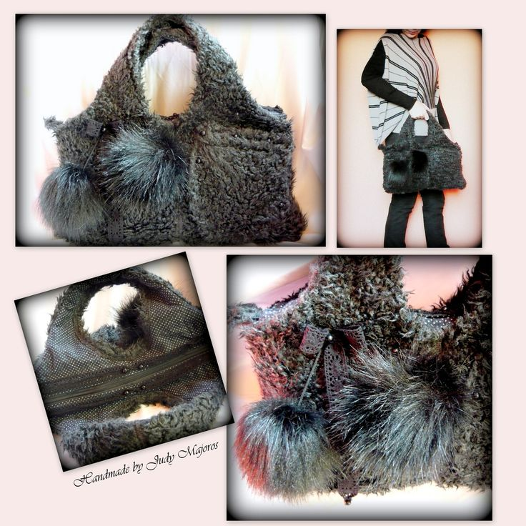 Handmade by Judy Majoros-  Gray Faux fur handbag. Faux fur pompom bag.Recycled bag