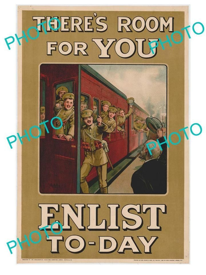 OLD HISTORIC PHOTO OF WWI CANADA MILITARY POSTER, THERE IS ROOM FOR YOU, ENLIST