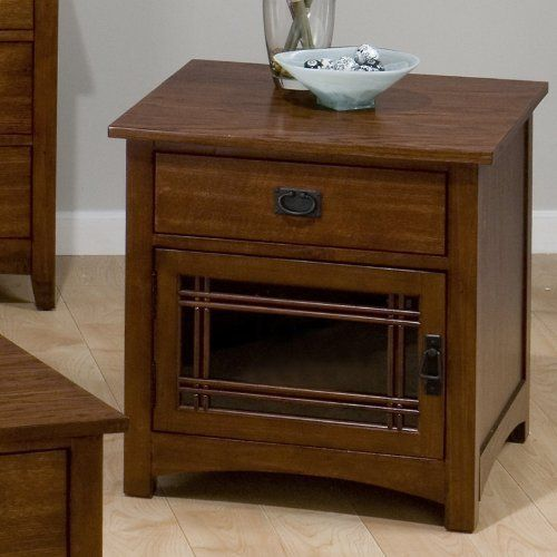 Jofran Mission Hill Square End Table with Drawer and Door in Oak by Jofran. $251.31. Drawer And Door. Style Mission. Width 24. Oak Veneer & Poplar Solids. Length 24. Features: Square End Table with Drawer and Door Mission Hill Oak Finish Crafted from Oak Veneer and Poplar Solids Part of the Jofran Mission Hill Collection Beautiful rustic design Square End Table comes with one drawer and door Specifications: Overall product dimensions: 24H x 24W x 24D inches Product weig...