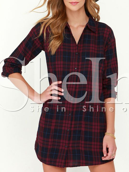 Red Long Sleeve Lapel Grid Plaid Blouses Dress 14.99