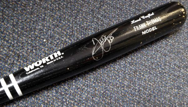 Frank Thomas Autographed Game Issued Worth Bat Chicago White Sox Beckett BAS #C02077