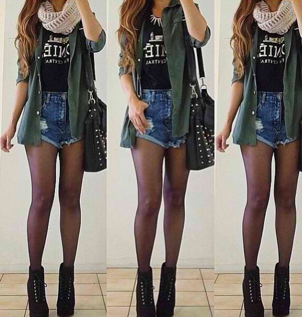 In that not to cold but not hot weather pare tights with shorts and wear a light jacket with a thick scarf #fashionfacts