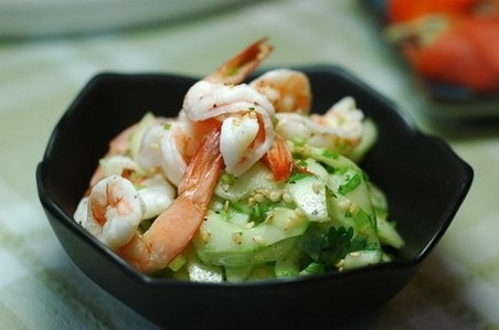 This is authenic Chinese...Cucumber shrimp salad