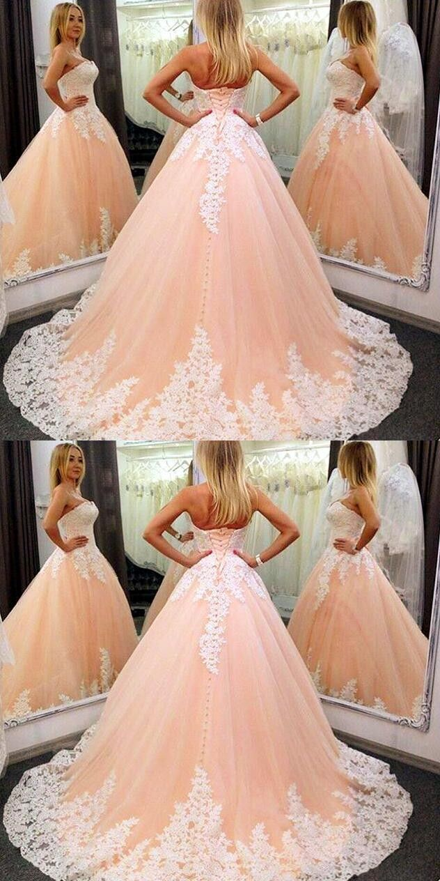 Strapless Nude Ball Gown Wedding Dresses , Lace Wedding Dress, Cheap Wedding Dress,Mermaid Prom Dress#promdresses #eveningdresses #longpromdresses #2018promdresses #fashionpromdresses #charmingpromdresses #2018newstyles #fashions #teensprom