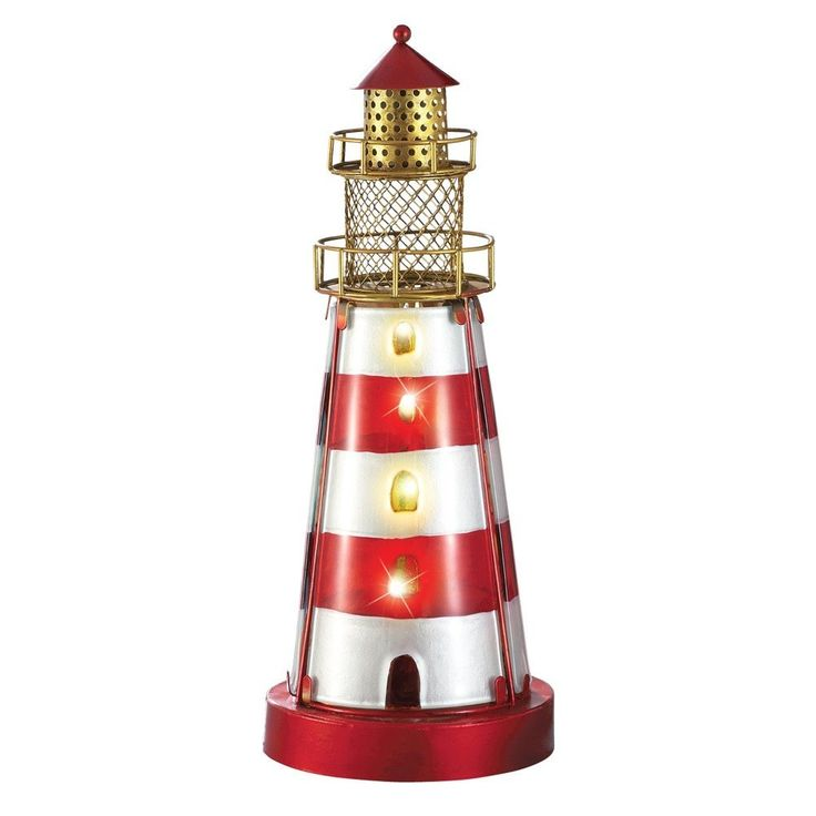 Glass Iron Coastal Nautical Lighthouse Lamp - Beachfront Decor