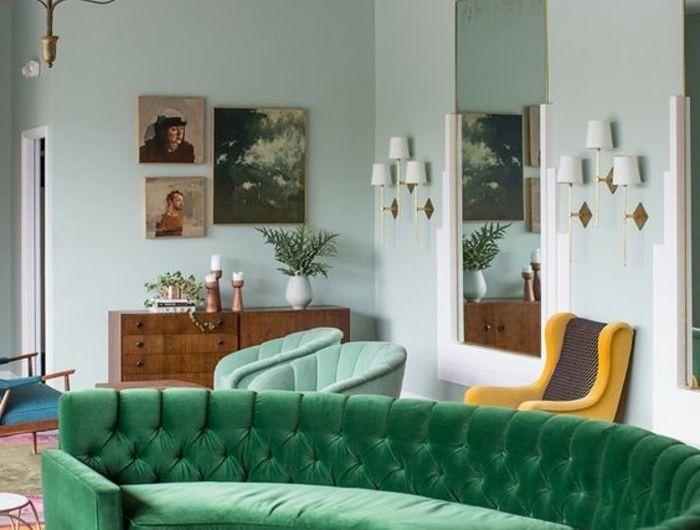 canape-conforama-vert-d-angle-arrondi-pour-le-salon-chic-tapis-coloré