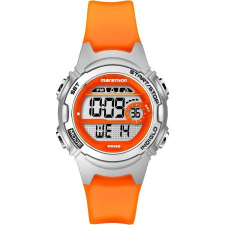 Marathon by Timex Women's Digital Mid-Size Watch, Translucent Orange Resin Strap
