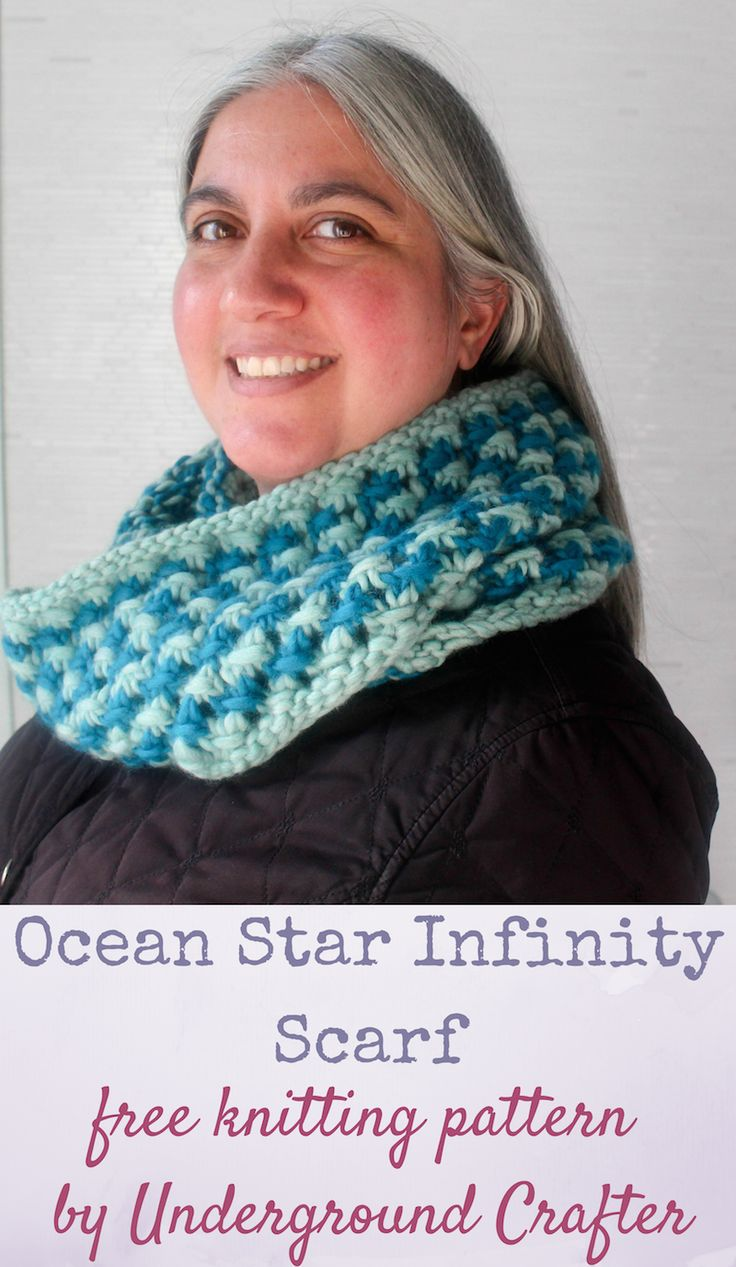 828 best blogger knitting patterns we love images on pinterest free knitting pattern ocean star infinity scarf in patons classic wool roving by underground crafter bankloansurffo Gallery