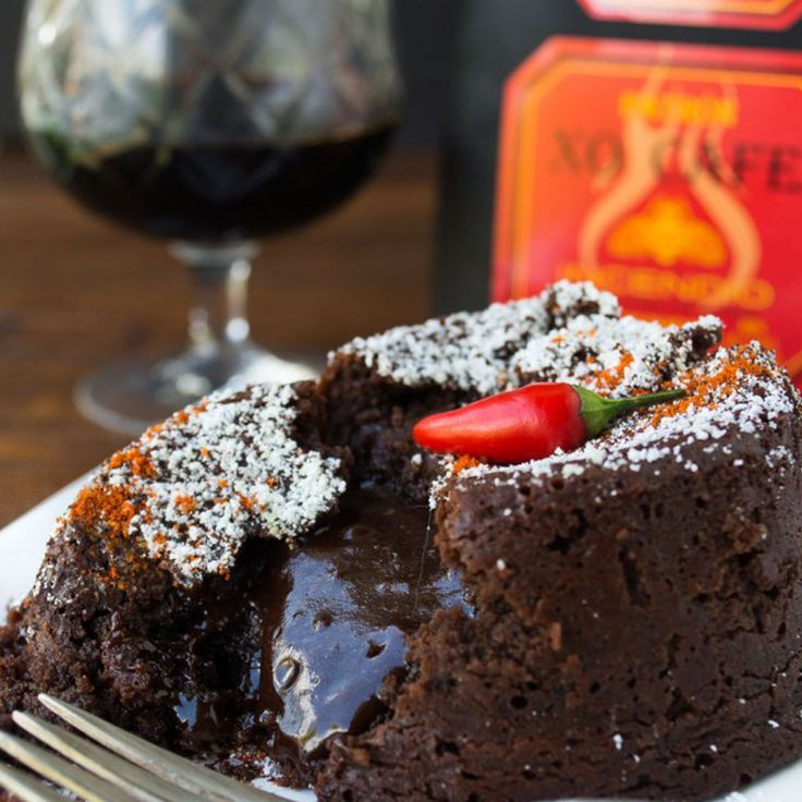 Treat your guests this #Friendsgiving with this Patrón XO Cafe Incendio Molten Lava Cake. | #Baking #DIY #Recipes #Patron