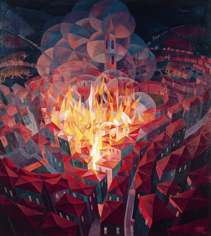 Burning City (1926). Gerardo Dottori (1884-1997) was an Italian Futurist painter. who signed the Futurist Manifesto of Aeropainting in 1929. Joined the Futurist movement in 1913 but only began to work in a fully Futurist style from 1914, producing landscapes & abstract compositions of rhythmical forms influenced by Balla & Boccioni. From c.1920 became preoccupied with the theme of landscape viewed from high above and distorted by the effects of speed, as if seen from an aeroplane.