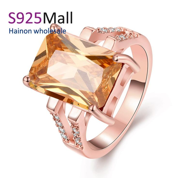 large square zircon champagne stone High Quality Nickle Free Antiallergic New Fashion Jewelry micro paved White zircon Ring