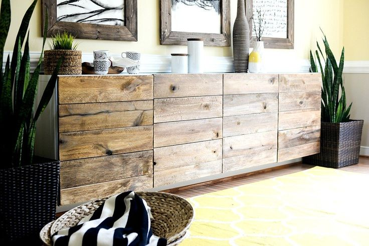 s 17 insanely easy ways to make ikea furniture look amazingly high end, painted furniture, Clamp rough wood panels over cabinet doors