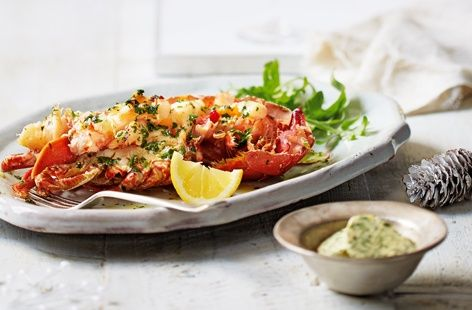 Grilled lobster with garlic and herb butter