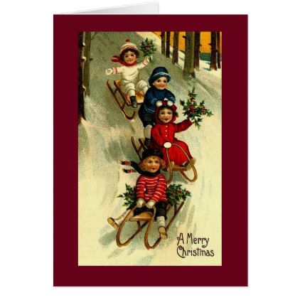 A Merry Christmas Children Sleding Christmas Card - merry christmas diy xmas present gift idea family holidays