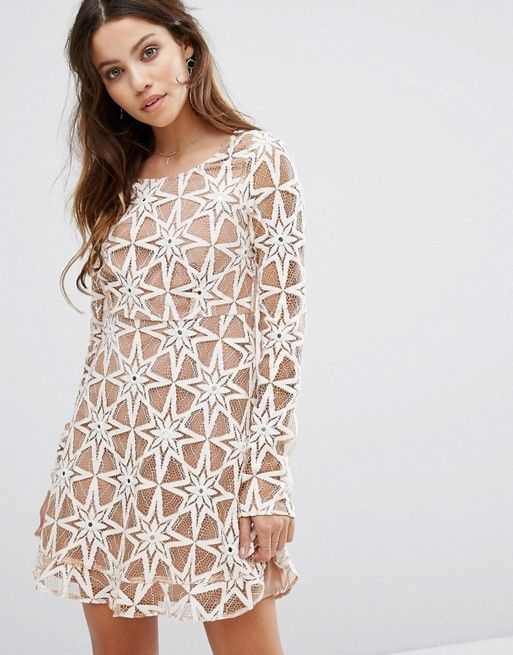 For Love and Lemons Metz Hand Embroidered Lace Dress White Latte Party Dress
