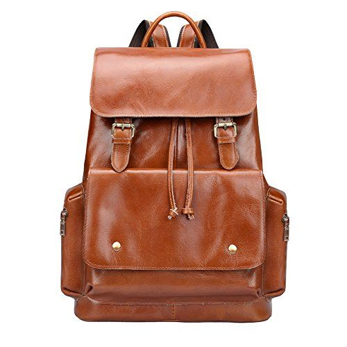 Big Sale S-ZONE Women's Daily Genuine Leather Casual Backpack Bag Sorrel * Visit the image link for more details. #Handbags