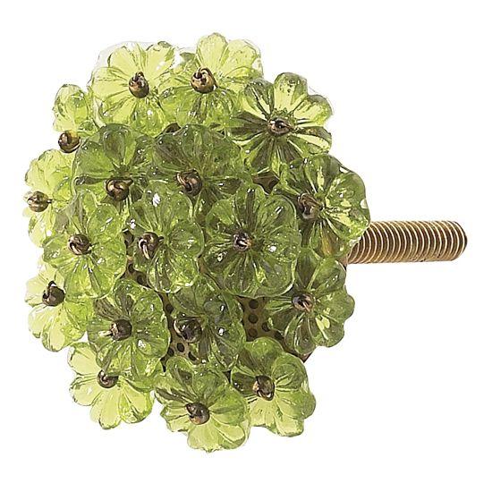 Knob Flower Beads Green Decorative Door Knobs