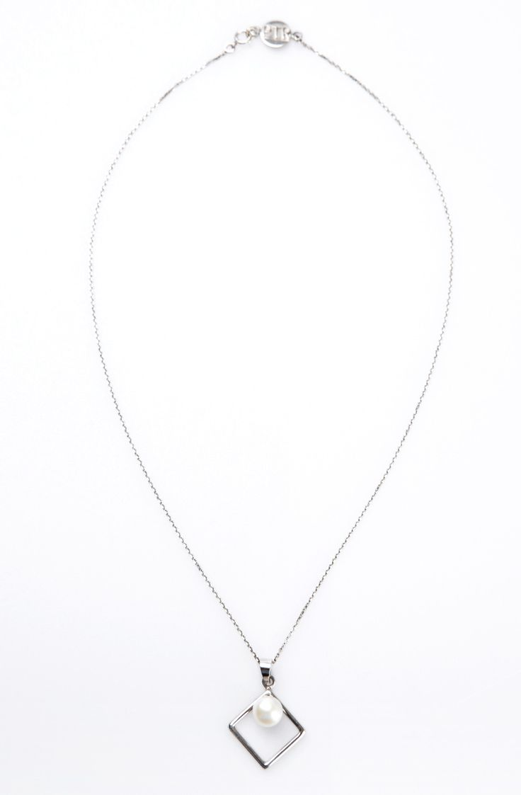 Diamond Necklace by Petra Tou Romiou. Necklace with square shape features 1 pearl on it. Crafted with stainless steel in white color and has clasp on it.  http://www.zocko.com/z/JKCru