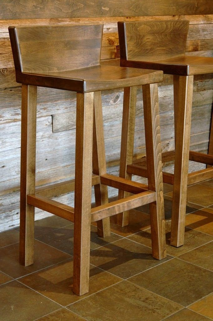 Wood Bar Stool     Upholster With A Nice Clean Fabric
