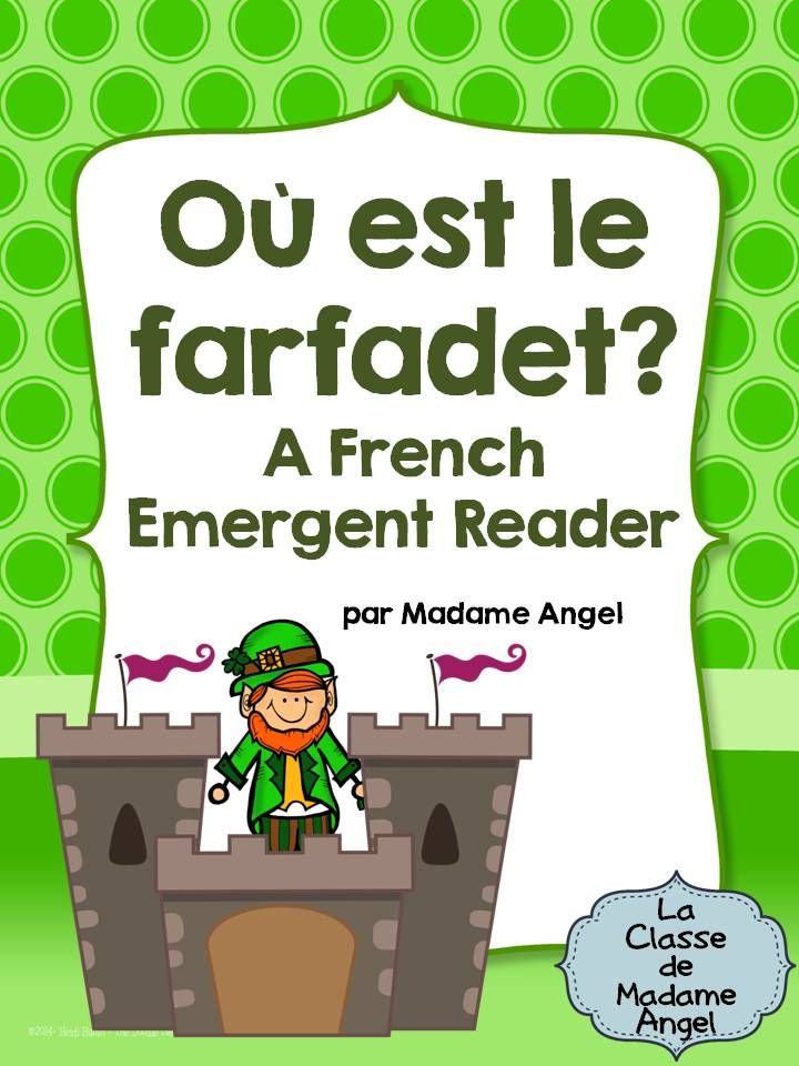 """$ Saint Patrick's Day Emergent Reader in French!  Students cut at paste """"le farfadet"""" according to the instructions on each page."""
