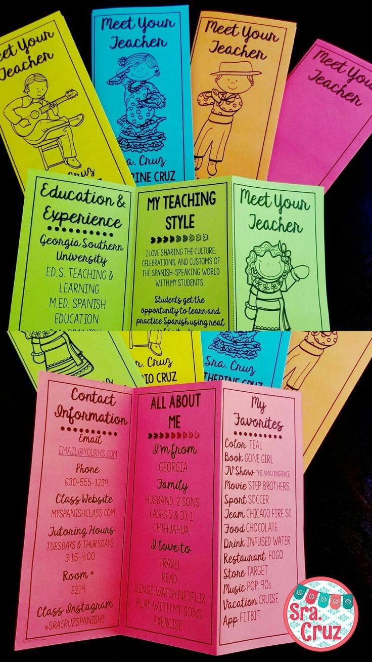 Impress parents and students with this eye-catching Meet Your Teacher brochure. These are great for Meet the Teacher Night, Open House, or the first day of school. This is a bundle of the Spanish and English versions.Available in English, Spanish and a bu